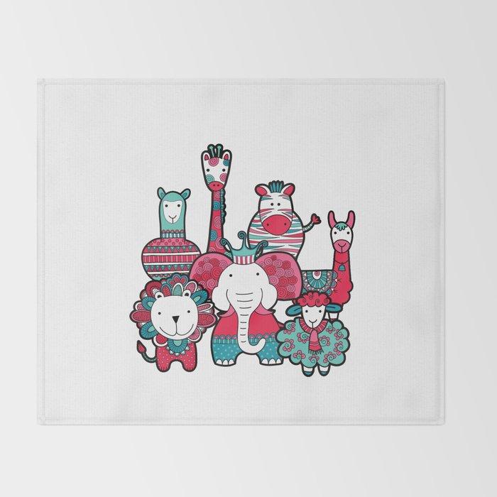 Doodle Animal Friends Pink & Grey Throw Blanket