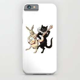Funny Vintage Cat Rabbit Dancing and Playing Banjo iPhone Case
