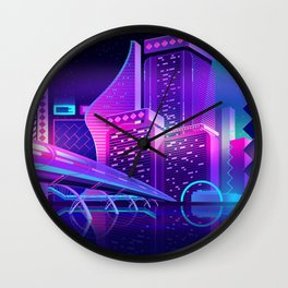 Synthwave Neon City #8 Wall Clock