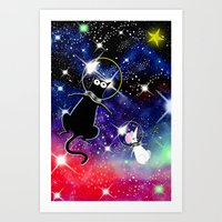 space cat Art Prints featuring Space Cat by Andrew Hitchen
