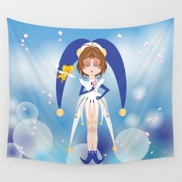 Mini Me Stars: Blue Sakura Wall Tapestry