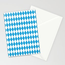 Oktoberfest Bavarian Blue and White Large Diagonal Diamond Pattern Stationery Cards
