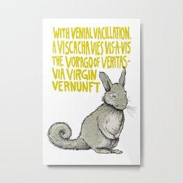 V is for Veritas - Mountain Viscacha in White Metal Print