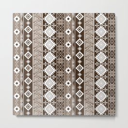 Colorful Aztec pattern with brown. Metal Print