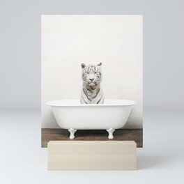 Not Serious White Tiger Bath (c) Mini Art Print