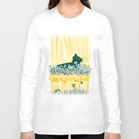 clover Long Sleeve T-shirts featuring Clover Cat by Priscilla Moore