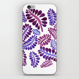 Pink leaves painting iPhone Skin