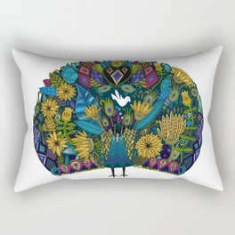 peacock garden white Rectangular Pillow