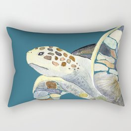 Watercolor sea turtle with teal background Rectangular Pillow