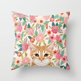 Orange Tabby floral cat head cute pet portrait gifts for orange tabby cat must haves Throw Pillow