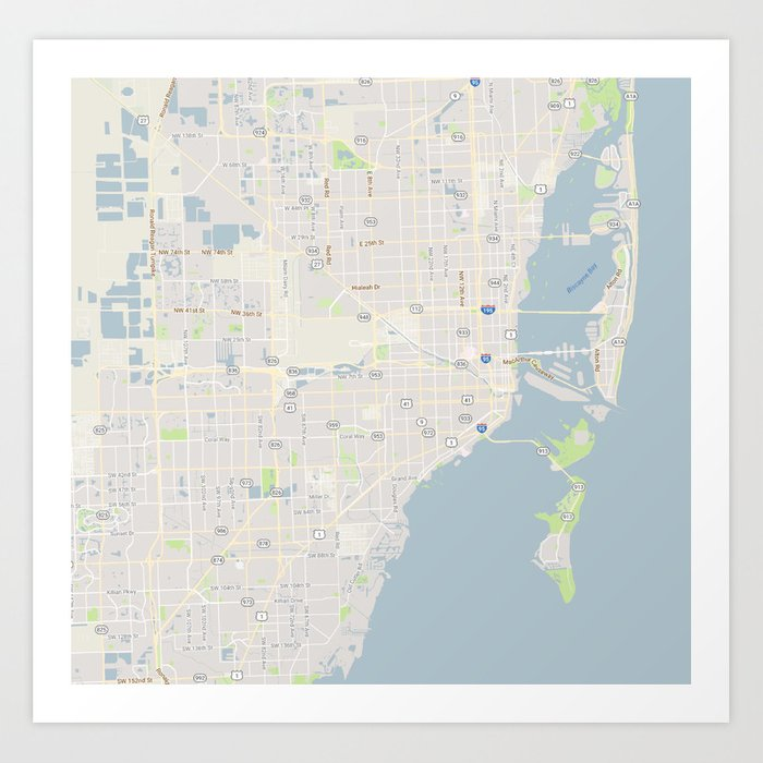 Florida On Usa Map.Minimalist Modern Map Of Miami Florida Usa 4 Art Print By Asarstudios