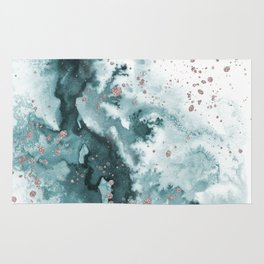 Watercolor meets Glitter  - Turquoise Rose Gold - No 1 Rug