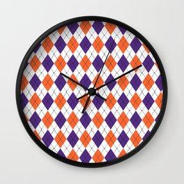 Argyle orange and purple pattern clemson football college university alumni varsity team fan Wall Clock