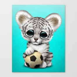 White Tiger Cub With Football Soccer Ball Canvas Print