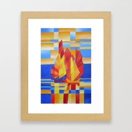 Sailing on the Seven Seas so Blue Cubist Abstract Framed Art Print