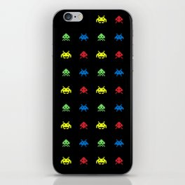 space aliens invaders stylish gamer art iPhone Skin