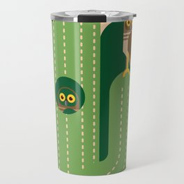 Burrowing owls and cacti vector illustration Travel Mug