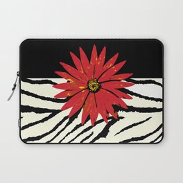 Animal Print Zebra Black and White and Red flower Medallion Laptop Sleeve