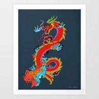 dragon Art Prints featuring dragon  by mark ashkenazi
