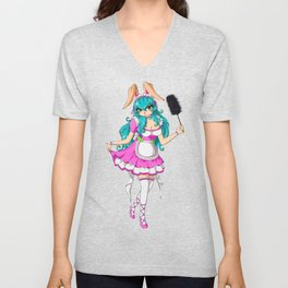 French Maid Bunny Kinky Cosplay Anime Fetish Comic Unisex V-Neck