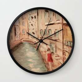 Venice Girl in Red Wall Clock