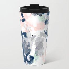 Melia - abstract minimal painting acrylic watercolor nursery mint navy pink Travel Mug