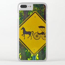Amish Traffic Sign Clear iPhone Case