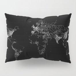 World map Lines Pillow Sham