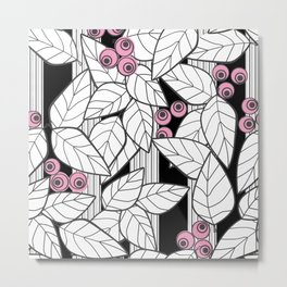 Pink berries on black and white striped background . Metal Print