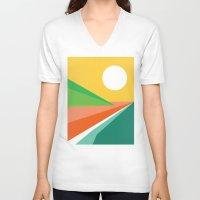 beach V-neck T-shirts featuring The beach by Picomodi