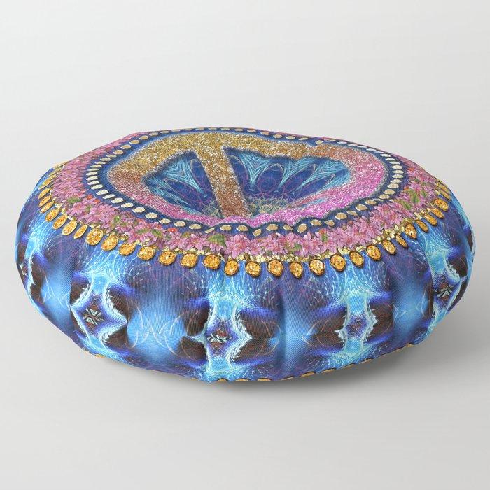 Groovy Hippie Love Mandala Floor Pillow