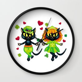 Irish dancing cats Wall Clock