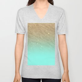 Elegant gold faux glitter chic teal gradient  trendy pattern Unisex V-Neck