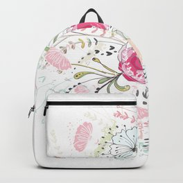 Rose-bouquet print Backpack