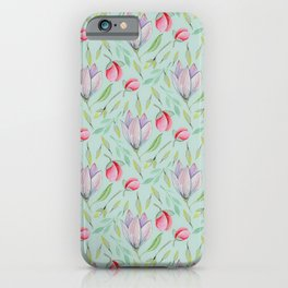 Modern pink lilac red watercolor girly magnolia floral iPhone Case