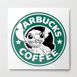 No More Coffee For You - Stitch Starbucks Logo Metal Print