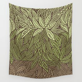 Polynesian Tribal Tattoo Shades Of Green Floral Design Wall Tapestry