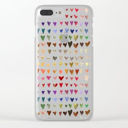 Hearts of many colors Clear iPhone Case