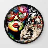 punk rock Wall Clocks featuring Punk Rock poster by Mira C