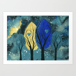 Night Family - Abstract family portrait in trees Art Print