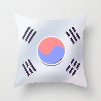 korean Throw Pillows featuring Korean Flag by AyuChii
