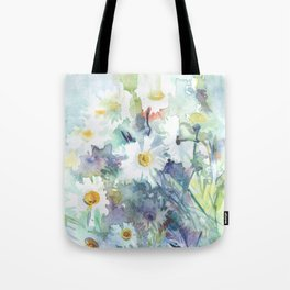 watercolor drawing - white daisies, beautiful bouquet, painting Tote Bag