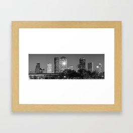 Black and White Houston Texas Downtown Skyline Panorama Framed Art Print