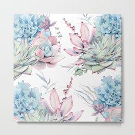Pretty Pastel Succulents Garden 1 Metal Print
