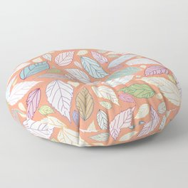 Colorful garden leaves collection on orange Floor Pillow