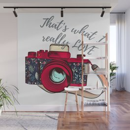 Retro camera. Fashion design Wall Mural