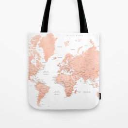 "Rose gold world map with cities, ""Hadi"" Tote Bag"
