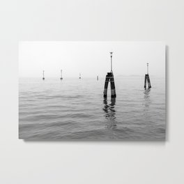 Fog on the Venice Lagoon in Winter | Black and white Metal Print