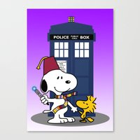 snoopy Canvas Prints featuring Snoopy Who by plasticdoughnut