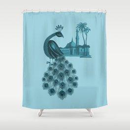 Blue peacock oriental dream Shower Curtain